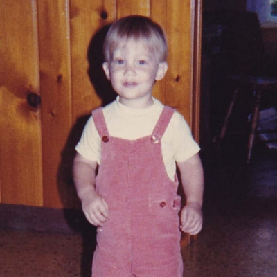 Childhood photograph of Justin Harms.