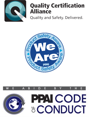 Logos for Quality Certification Alliance and PPAI Code of Conduct