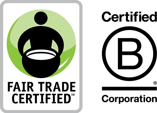 Fair Trade Certified logo and B Corporation Certified logo