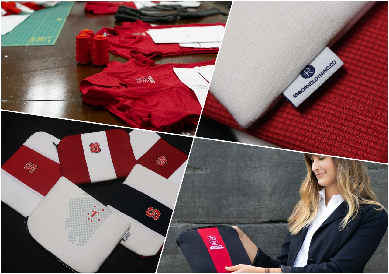 Rebranded NC state laptop cases, shirts, and the Reborn logo.