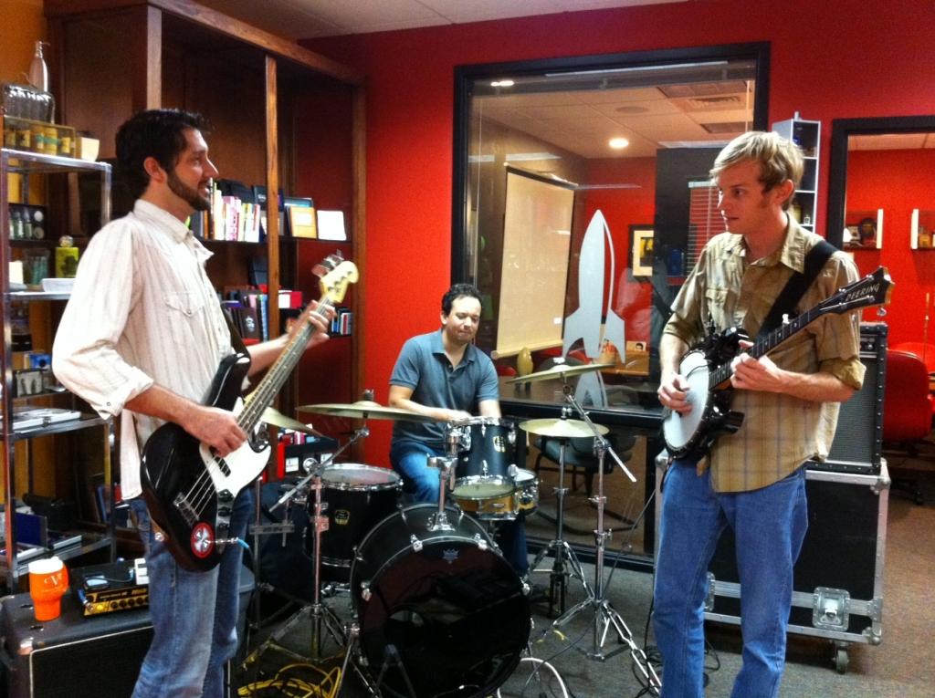 A band playing music.