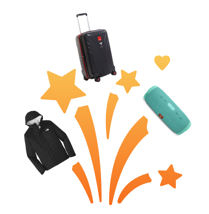 A raincoat, travel bag, and JBL portable speaker that people can win by using the referral program.