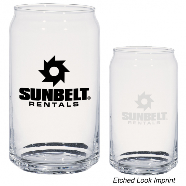 Branded pint glasses in the shape of a canned drink.