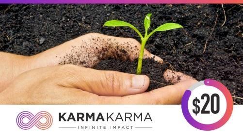 "A person planting a plant with the ""Karma Karma"" logo."