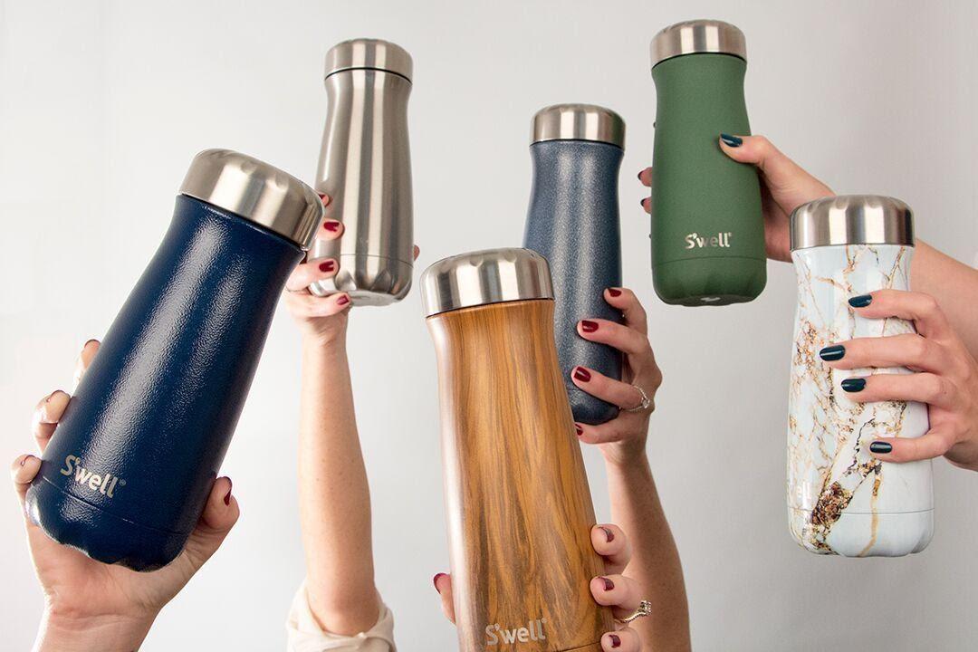 Branded water bottles.