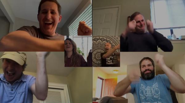 Zoom call of the BrandFuel team dancing