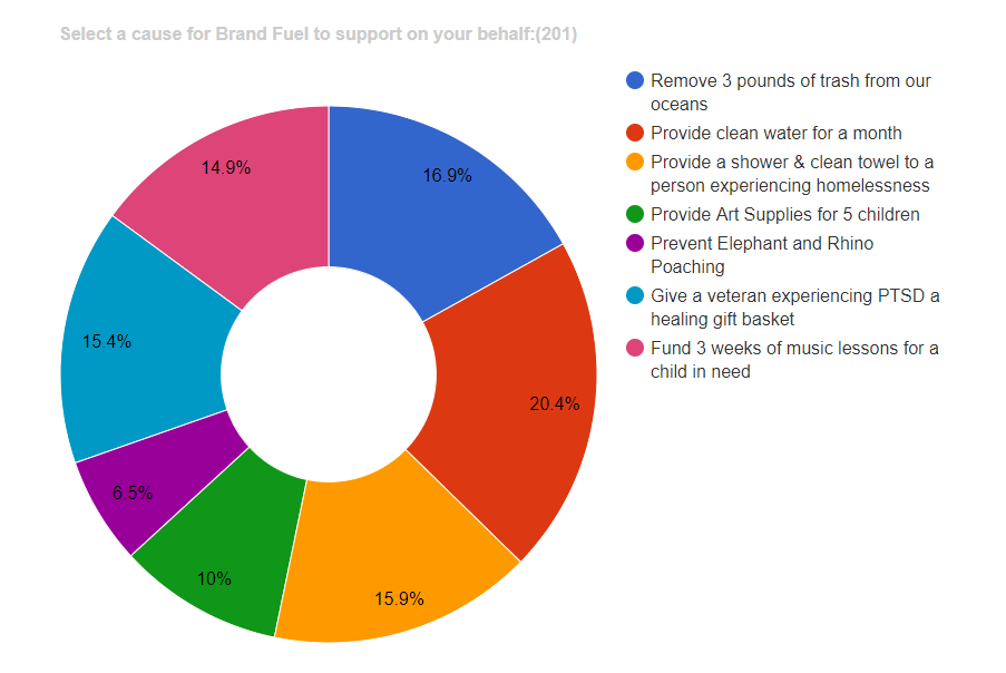 Circle diagram mapping out what cause BrandFuel clients supported based on percentage.