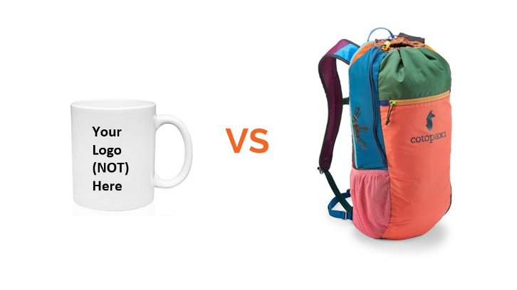 """A white coffee mug with the text """"Your logo not here"""" and Cotopaxi backpack with the word """"versus"""" in betwen."""