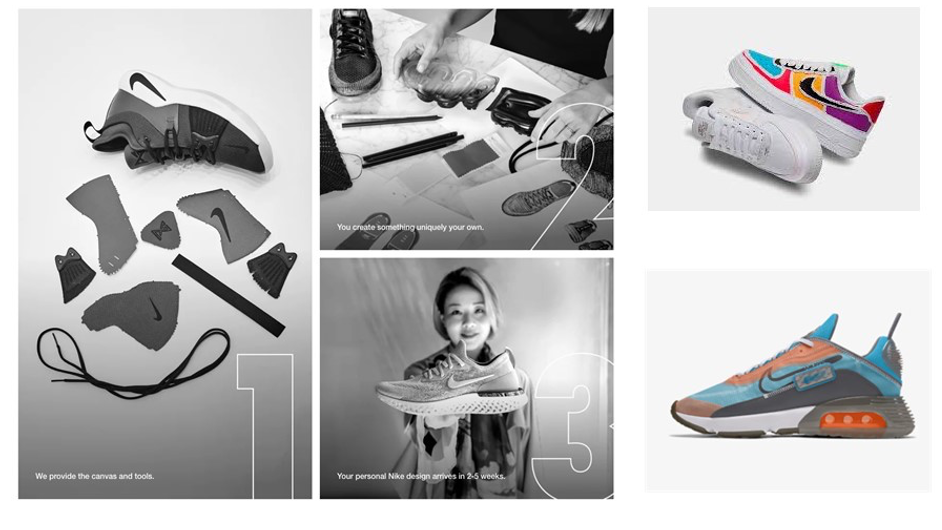 Photos of the Nike shoe design process and the final products of two sets of shoes.