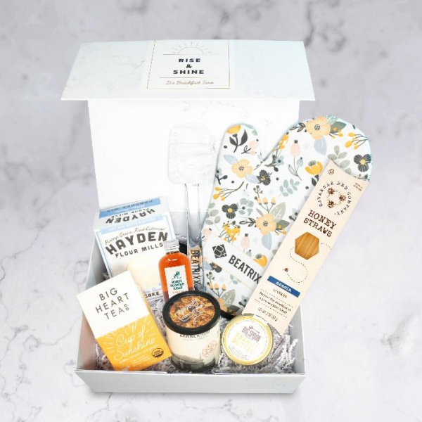 Gift box with baking supplies.