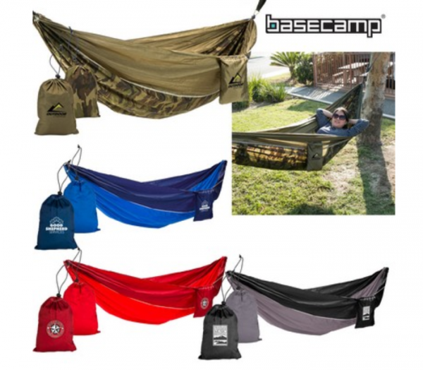 Colorful hammocks with carrying cases.