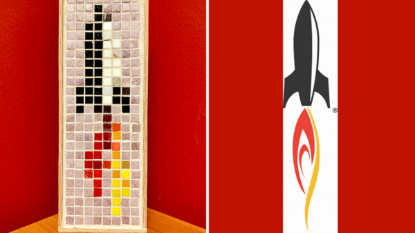 The Brand Fuel rocket logo created out of tiles.