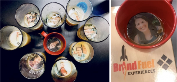 Pint glasses with photos of people printed on edible sugar discs.
