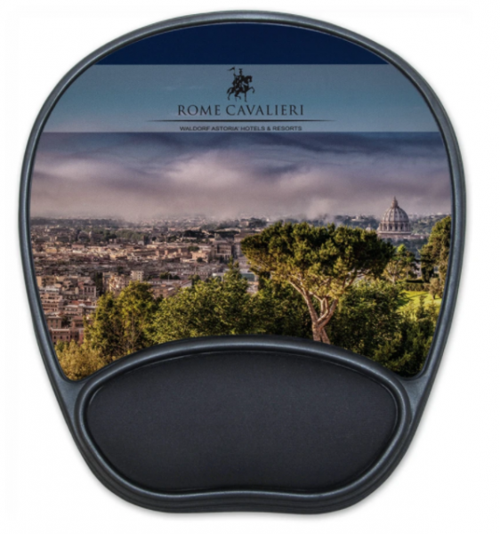 Cityscape printed on a mousepad with cushy rest for your wrist.